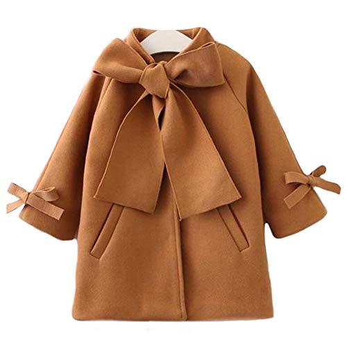 SUUGEN Toddler Kid Baby Girls Warm Wool Bowknot Coat Winter Overcoat Outwear Jacket (3-4T, Brown)