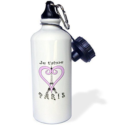 Mosonスポーツウォーターボトルギフト、I Love Paris Franceピンクハートホワイトステンレススチールウォーターボトルforレディースメンズ21oz B07BJZTF53