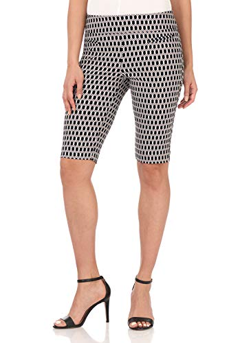 Rekucci Women's Ease in to Comfort Fit Pull-On Modern City Shorts (8,Black/White Geo Chain)
