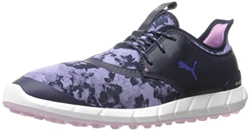 PUMA Golf Women's Ignite Spikeless Sport Floral Golf Shoe, Peacoat/Baja Blue/Smoky Grape, 6.5 M US