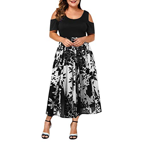 LONGDAY Women Plus Size Dresses Short Sleeve Cold Shoulder Casual T-Shirt Swing Round Neck Cocktail Midi