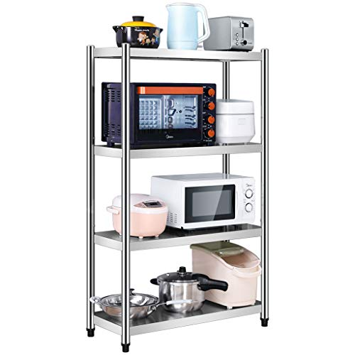Kitchen Shelf Stainless Steel Microwave Oven Rack, Multi-Function Kitchen Cabinet and Cabinet Rack Storage Rack, 5 Sizes Kitchen Storage Racks (Size : 7040130cm)
