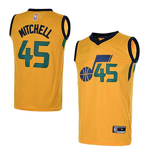 OuterStuff Youth Utah Jazz #45 Donovan Mitchell Kids Basketball Jersey (YTH Large 14/16, Gold)