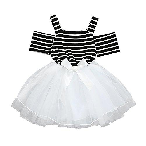 SANGQU Little Girls Dress Strap, Striped Off Shoulder Tutu Tulle Dresses Black