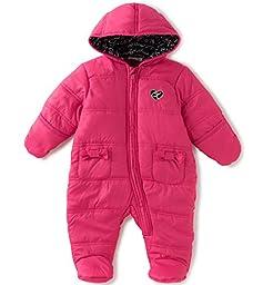 Calvin Klein Baby Girls\' Hooded Quilted Pram, Hot Pink, 6-9 Months