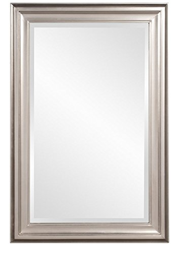Howard Elliott George Rectangular Wood Framed Wall Vanity Mirror, Bright Silver, -