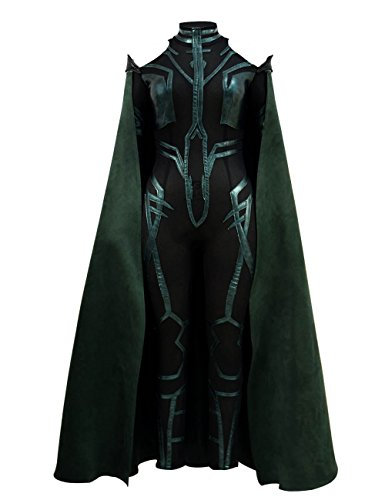 VOSTE Hela Costume Halloween Cosplay PU Outfits with Green Cloak for Women (X-Small, Full (Female Thor Cosplay)