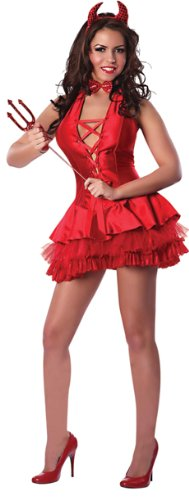 Red Devil Costume Womens (Delicious The Devil Made Me Do It Costume, Red,)