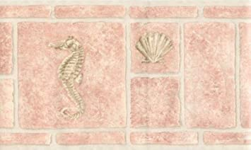 Pink Bathroom Tiles Shell Seahorse Wallpaper Border