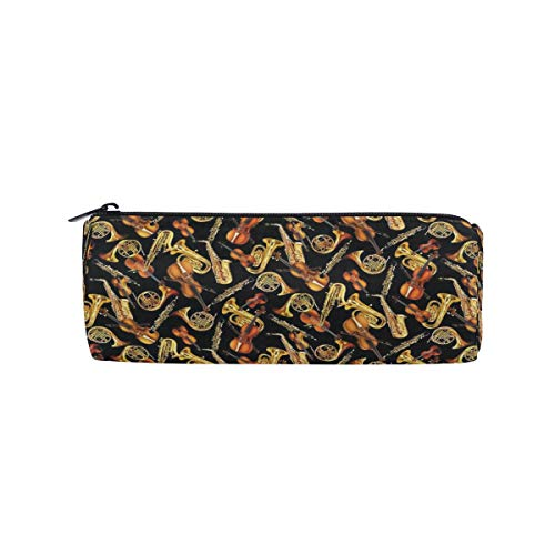 - Pencil Case Horns and String Musical Instruments Tossed Black Pen Case Pencil Holder with Zipper Large Capacity Orgnizer Students Stationery Pouch Case School Office Supplies Gift