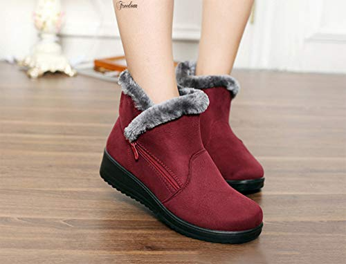 Faux Size Lined Shoes Heel Comfort Snow Fur Zip Booties Side Warm Red Flats Boots Winter Short Ladies Outdoor Ankle Women Boots ArqABpfw