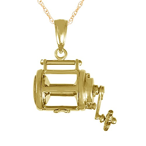 14k Yellow Gold Nautical Charm Necklace Pendant with Chain, 3-D Fishing Reel, Moveable, with 18 Inch Chain ()