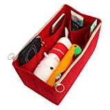 [Fits Delightful MM, Red] Felt Organizer (with Double Zipper Bag), Bag in Bag, Wool Purse Insert, Customized Tote Organize, Cosmetic Makeup Diaper Handbag