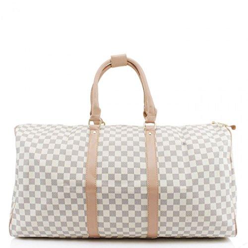 LADIES DESIGNER TRAVEL GYM SPORTS BAG WOMEN STYLE BARREL FLORAL CHECK LUGGAGE (Cream Check)