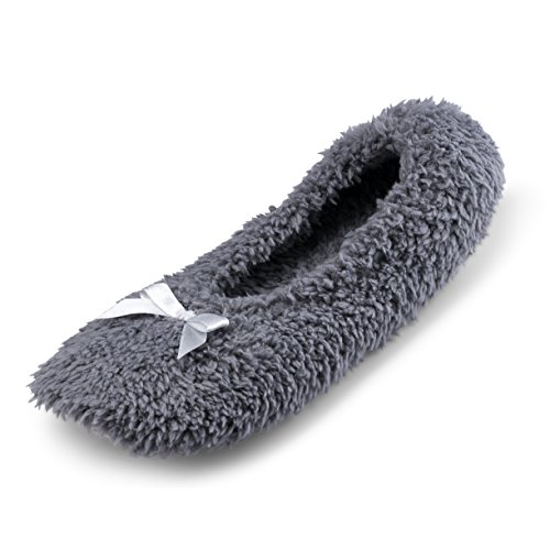 Cartoon Club Women Fuzzy Ballerina In House Slippers w/Soft Cotton Terry Lining | Most Comfortable Home Footwear Grey kEhqHI