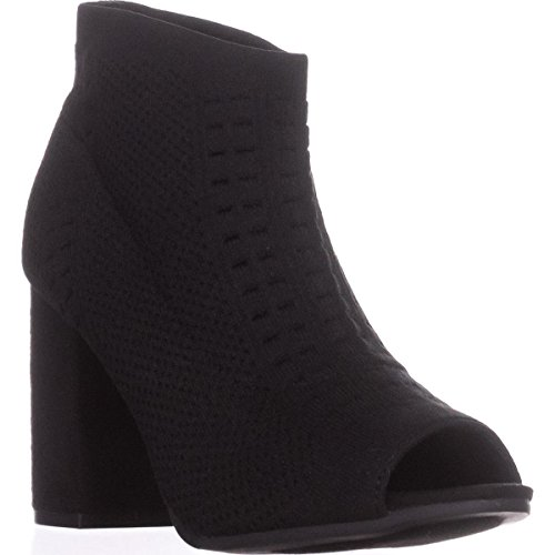 Seven On Toe Tara Peep Dials Pull Black Booties xSFnxa6