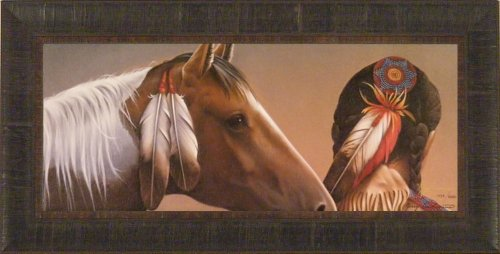 Spirited Gift by Jerry Gadamus 14x28 Horse Indian Native American Framed Art Print Wall Décor Picture Signed and Numbered