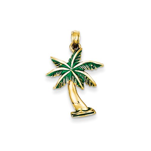 14k Yellow Gold Green Enameled Palm Tree Pendant