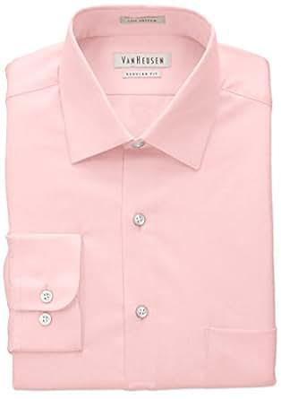 Van heusen men 39 s lux sateen regular fit solid spread for Van heusen men s regular fit pincord dress shirt
