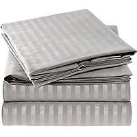 Juego de sábanas a rayas Mellanni - Ropa de cama de microfibra cepillada 1800 - Arrugas, decoloración, resistente a las manchas - Hipoalergénico - 4 piezas (Queen, gris /plateado)