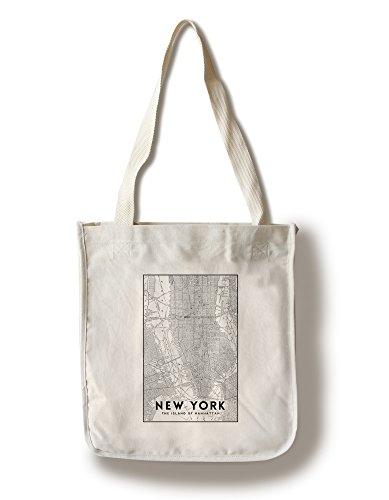 New York City, New York - Manhattan Map - Black and White (100% Cotton Tote Bag - - Shopping New Manhattan York