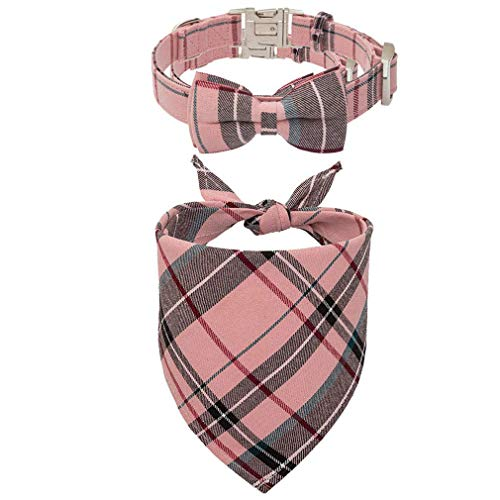 KOOLTAIL Dog Bandana and Dog Collar with Bowtie Set – Classic Plaid Triangle Scarf and Adjustable Dogs Collar with…
