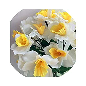 2Pcs Artificial Narcissus Simulation Daffodils Seven Stems Per Bush White/Yellow for Wedding Party Home D 74