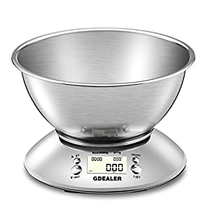 GDEALER Digital Kitchen Scale 11lb/5kg Accuracy Food Scale Multifunction Kitchen Scale with Bowl, Stainless Steel, 2.15L Liquid Volume, Alarm Timer, Temperature, Backlight LCD Display