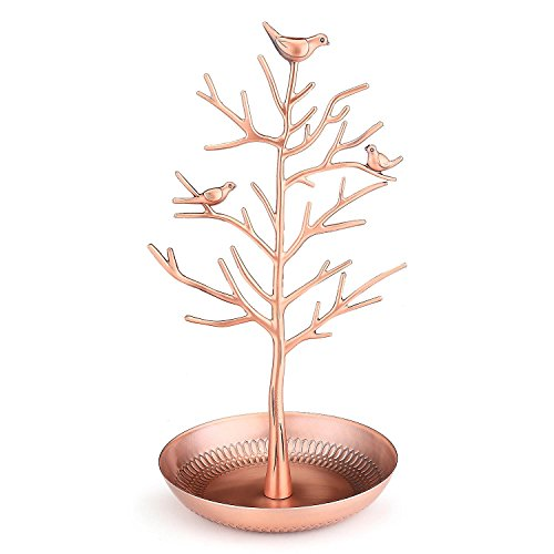 Flexzion Jewelry Stand Display Tabletop Storage Store Rack Antique Birds Tree Style - Removable Necklace Bracelet Earring Bangle Pendants Anklet Tower Watch Key Hanging Holder Organizer For Women Girl