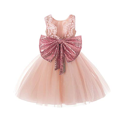 stay real Gorgeous Baby Events Party Wear Christening Gowns Children's Princess Dresses for Girls Toddler Evening Dress(Pink,4T) -