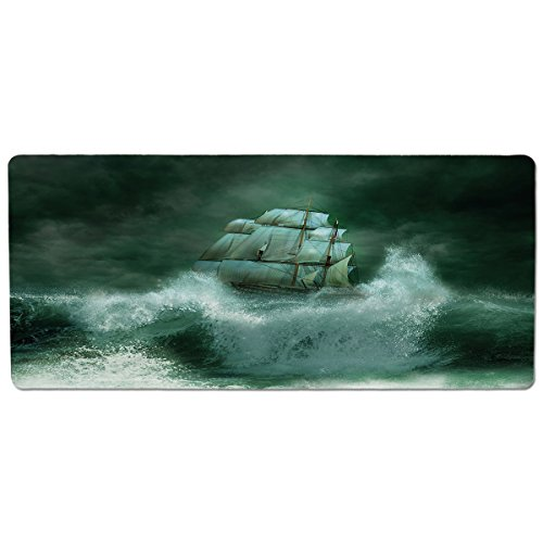 Adventures In Fantasy (iPrint Pet Mat for Food and Water,Pirate Ship,Old Ship in Thunderstorm Digital Artwork Fantasy Adventure,Jade Green Dark Green White,Rectangle Non-Slip Rubber Mat for Dogs and Cats)