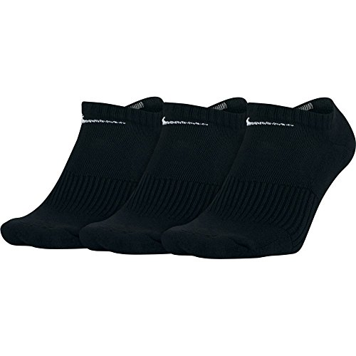 NIKE Unisex Performance Cushion No-Show Training Socks (3 Pairs), Black/White, Large by NIKE