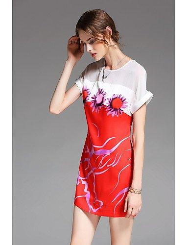 Estampados Rojo La Mujer Encima Sueltos Florales Fiesta Redondo Con Cuello Manga Vestidos Corta Por Vestido Fiesta De La Mujer JIALELE De Rodilla xgXzAqq1