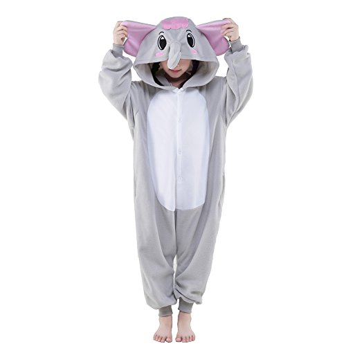 Kids Newcosplay Onesie animal pajama Children's Halloween Costume (95, Gray Elephant) (Elephant Kids Costume)