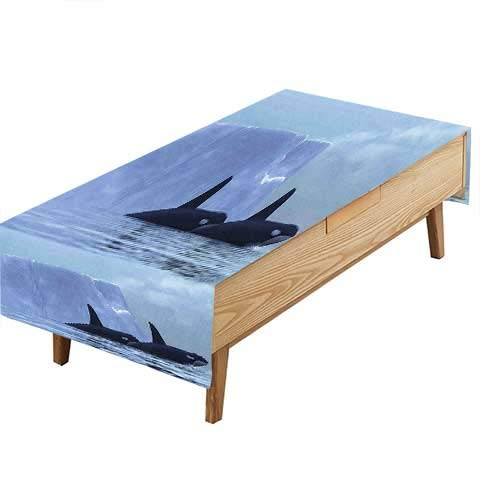 PINAFORE 100% Polyester,Eco-Friendly Safe Whale Two Killer Whales Swimming Near an Iceberg in The Arctic Scene Light Heat Moisture Resistance Indoor Outdoor Table Covers W60 x L84 INCH