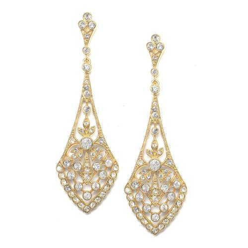 Mariell 14k Gold Plated Art Deco Cubic Zirconia Vintage Chandelier Wedding Earrings - Bride or Bridesmaid (Dangle Jewelry Gold 14kt Earrings)