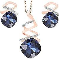 Acoolstore Fashion New Set Crystal Gemstone Irregular Twisted Pendant Necklace Earrings Jewelry Set Female Jewelry (Blue)