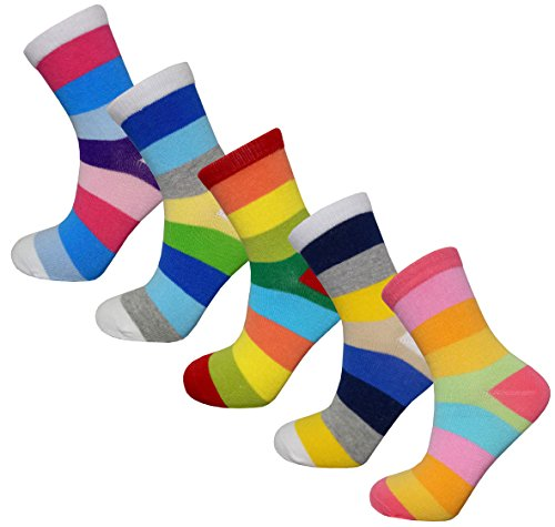 Boys' Rainbow Striped Cotton Seamless Crew Socks (Pack of 5) (6-8 Years, Colorful)