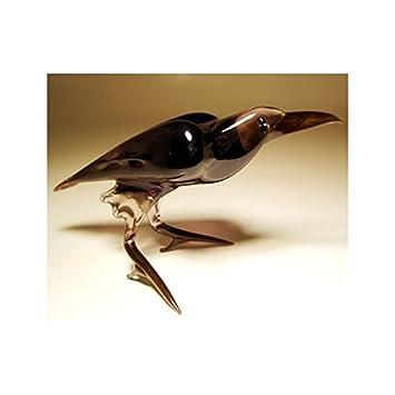 Glass Black Bird Raven Crow Figurine