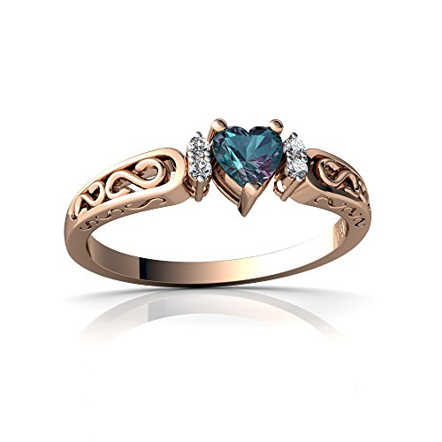 14kt Rose Gold Lab Alexandrite and Diamond 4mm Heart filligree Scroll Ring - Size 7