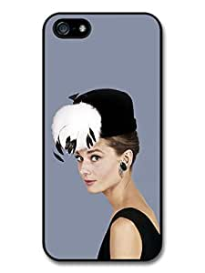AMAF ? Accessories Audrey Hepburn Wearing Black Hat With Feathers case for iPhone 5 5S