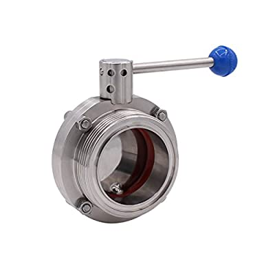 Dernord Butterfly Valve with Pull Handle Stainless Steel 304 Sanitary Tri Clamp Clover (3 Inch NPT Threaded Type) by Dernord