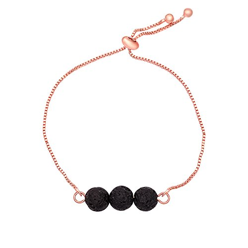 SENFAI Black Lava Rock Volcano Stone Charming Bracelet Hand Accessory for Women Adjustable