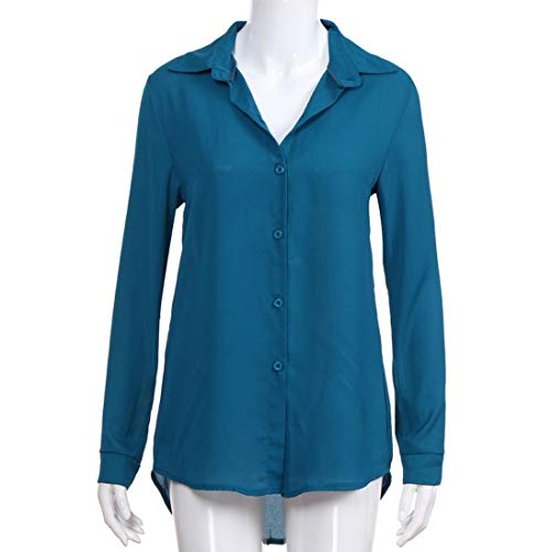 Uni Longues Femme Chemisier Holywin Bleu Manches 4RY75q