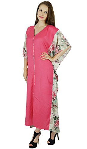 Bimba Femmes Robe Maxi Rayonne Rose Caftan Longue Robe Caftan Rose Chic Coverup