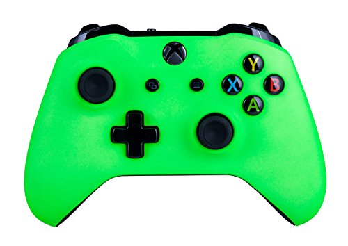 Xbox One S Wireless Controller for Microsoft Xbox One - Soft Touch Green X1 - Added Grip for Long Gaming Sessions - Multiple Colors Available (Blue Controller Xbox Shell)