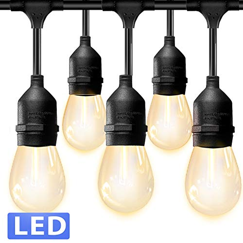 Amico LED Outdoor String Lights - Weatherproof Vintage Dimmable Edison Plastic Bulbs with 15 Sockets - Commercial Grade Patio Café Porch Market Backyard Hanging Lights (Lights Patio Vintage String)