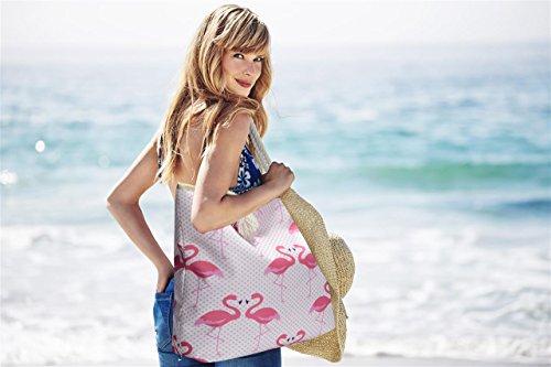 hombro bolso impermeable cremallera playa verde Flamencos Bolso de grande de con Flamencos SOW6q8cqy