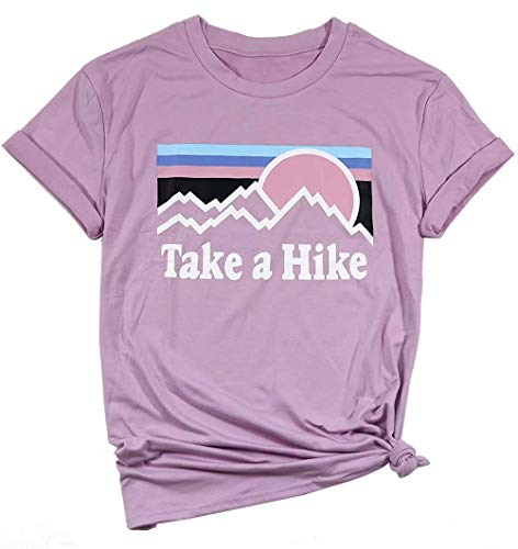 Erxvxp Women Take A Hike Letter Printed Casual T-Shirt Round Neck Tops (Pink, Large)