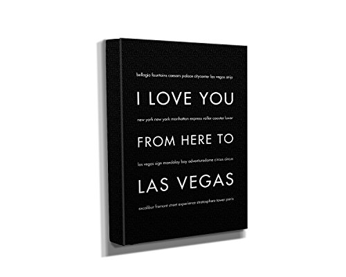 "HopSkipJumpPaper Las Vegas Nevada Gallery Wrapped Stretched Canvas Wall Art (8""x10""x1.5"") in Black - Typography Home Decor - Ready to Hang"